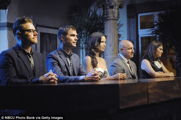 Lakshmi, center, is pictured during an episode of Top Chef. She got a call from Bravo to appear on Top Chef, with master chef Tom Coliccihio, when it was in its second season