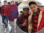 Chris Brown and Pharrell Williams are seen shopping together in Paris 7 March 2016. Please byline: Vantagenews.com