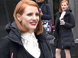 149108, EXCLUSIVE: Jessica Chastain spotted with pretty rugged boots on as she films for Miss Sloane in Toronto. Toronto, Canada - Monday march 07, 2016. CANADA OUT Photograph: © PacificCoastNews. Los Angeles Office: +1 310.822.0419 sales@pacificcoastnews.com FEE MUST BE AGREED PRIOR TO USAGE