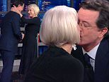 """9 March 2016 - Los Angeles - USA  **** STRICTLY NOT AVAILABLE FOR USA ***  Dame Helen Mirren leaves Stephen Colbert speechless as she kisses him twice on The Late Show. The British actress stunned the late night US chat show host by smooching him full on the lips the first time as she walked out on stage. Colbert just stood for a few seconds looking at her before taking his seat and then pulling out a tissue and mopping his brow. Mirren told him:"""" If I didn't do it then, I'd never get to do it. I've been dreawming about doing that for 15 years, so I just grabbed my chance!"""" Colbert then told her it was the 'nicest' greeting he'd ever got from any guest and repaid her the compliment by pouring her a cup of English breakfast tea from a teapot! At the end of the interview, Mirren leaned in and kissed Colbert again before looking at him longingly and he just broke into a huge grin.   XPOSURE PHOTOS DOES NOT CLAIM ANY COPYRIGHT OR LICENSE IN THE ATTACHED MATERIAL. ANY DOWNLOADING FEES CHAR"""