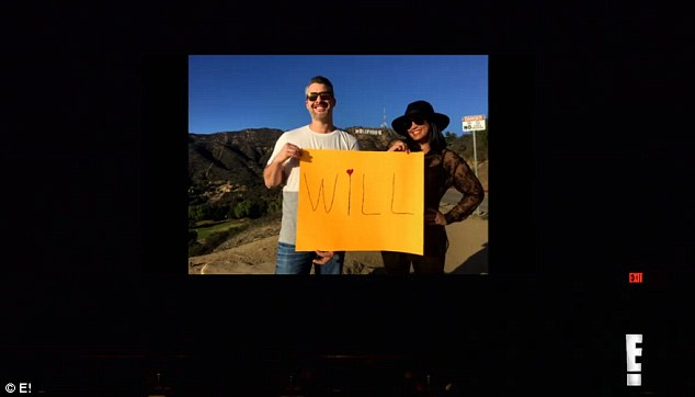 So sweet: Images of couples and others flashed on screen holding up signs, leading up to Jillian's proposal
