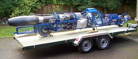 Richard Brown, of the UK's Jet Reaction, has created a jet engine from scratch -  a 930kilowatt helicopter engine retooled to create thrust, with an afterburner spraying fuel into the exhaust to generate even more thrust