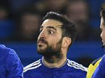 Cesc Fabregas of Chelsea questions Thiago Motta of Paris Saint-Germain during the UEFA Champions League Round of 16 2nd Leg match between Chelsea and Paris St Germain played at Stamford Bridge, London on March 9th 2016