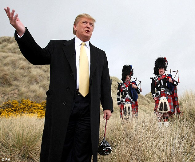Mr Trump, pictured on the site of his Scottish course, says the project is near and dear to his heart