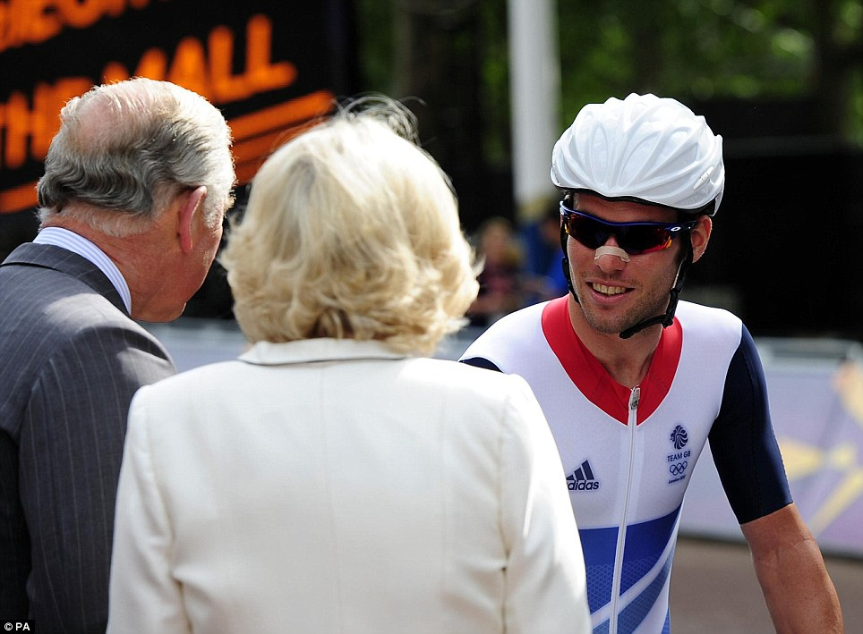 Royal approval: Before the race Mark Cavendish had briefly chatted with Prince Charles and the Duchess of Cornwall