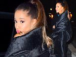 EXCLUSIVE: Ariana Grande was spotted leaving an SNL Cast Dinner at Lattanzi in Midtown NYC. She brought along an enormous bodyguard for the low-key dinner. He towered over her as she met fans outside the restaurant . She wore an oversized black coat that smothered her small frame. It resembled a black trash bag. She made kissy faces before hopping into her awaiting car, while the other cast mates like Taran Killam walked down the block\n\nPictured: Ariana Grande\nRef: SPL1243417  080316   EXCLUSIVE\nPicture by: 247PAPS.TV / Splash News\n\nSplash News and Pictures\nLos Angeles: 310-821-2666\nNew York: 212-619-2666\nLondon: 870-934-2666\nphotodesk@splashnews.com\n