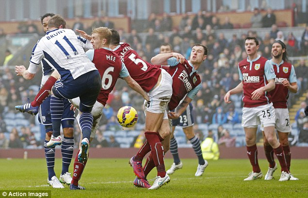Brunt scores West Brom's first goal of the game against Burnley