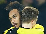DORTMUND, GERMANY - MARCH 10:  Pierre-Emerick Aubameyang of Borussia Dortmund celebrates with Marco Reus as he scores their first goal during the UEFA Europa League Round of 16 first leg match between Borussia Dortmund and Tottenham Hotspur at Signal Iduna Park on March 10, 2016 in Dortmund, Germany.  (Photo by Alex Grimm/Bongarts/Getty Images)
