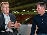 Mar 10th 2016 - Liverpool, UK - CARRAGER AND SCHOLES - Jamie Carragher talks to Paul Scholes PIcture by Ian Hodgson/Daily Mail