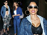 Hollywood, CA - Nicole Murphy and Claudia Jordan are all smiles after a sushi dinner at Katsuya in Hollywood. Nicole still wears sunglasses to cover up her sty.\nAKM-GSI         March 10, 2016\nTo License These Photos, Please Contact :\nSteve Ginsburg\n(310) 505-8447\n(323) 423-9397\nsteve@akmgsi.com\nsales@akmgsi.com\nor\nMaria Buda\n(917) 242-1505\nmbuda@akmgsi.com\nginsburgspalyinc@gmail.com