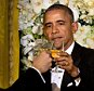 President Barack Obama toasts Canadian Prime Minister Justin Trudeau, left, during a State Dinner in the East Room of the White House in Washington, Thursday, March 10, 2016. (AP Photo/Jacquelyn Martin)