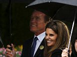 Former California Governor Arnold Schwarzenegger and his ex-wife Maria Shriver attend the funeral for former first lady Nancy Reagan at the Ronald Reagan Presidential Library in Simi Valley, California  March 11, 2016.  REUTERS/Mike Blake