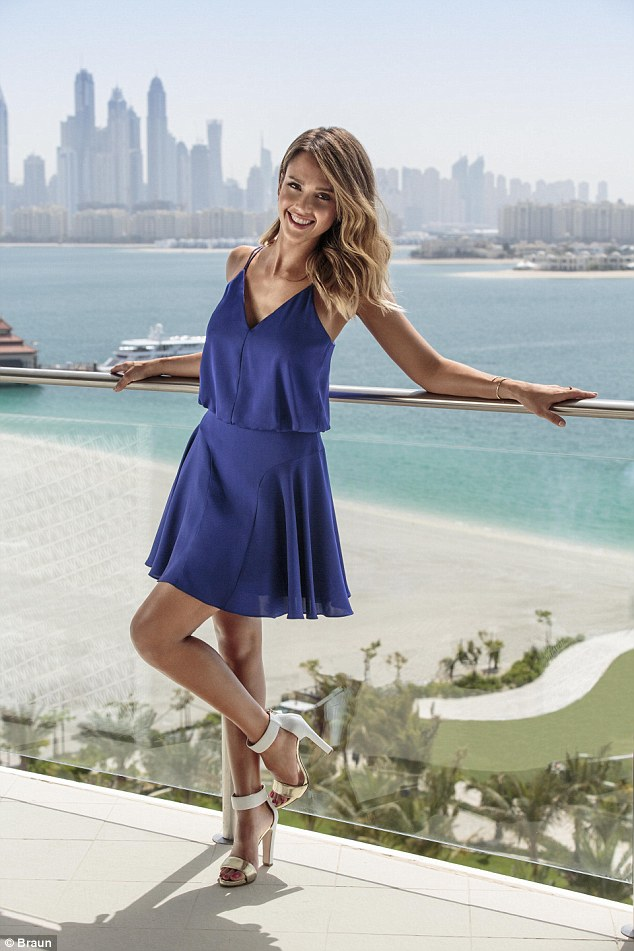 Jessica Alba shows off her youthful glow as she models in a new Braun campaign to celebrate her 34th birthday, which was shot in sunny Dubai