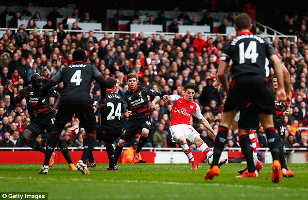 Hector Bellerin scores the first Premier League goal of the weekend to give Arsenal the lead against Liverpool