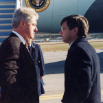 ClintonShumaker - President Bill Clinton speaks with Terry Shumaker at Manchester Airport as he nears the end of his 1996 campaign. (Photo courtesy of Terry Shumaker)