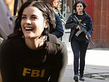"""March 11, 2016: Jaimie  Alexander, Sullivan Stapleton, Audrey Esparza and Rob Brown are photographed today doing some scenes of """" Blind Spot """" in New York City. Alexander is seen talking a pictures with some kids that asked her for a photo.Pictured Here: Jaimie Alexander.\nMandatory Credit: Elder Ordonez/INFphoto.com Ref: infusny-160"""