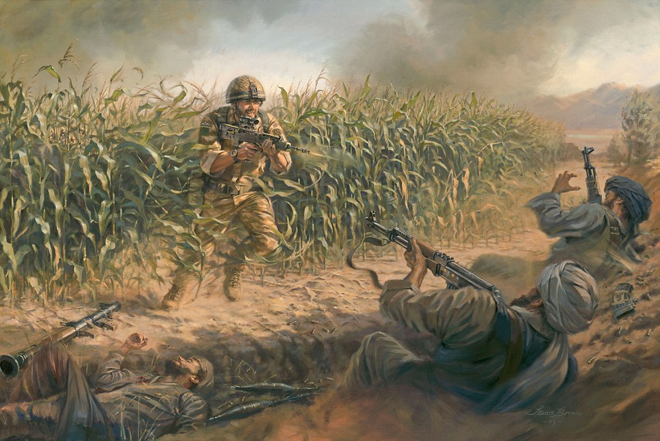 painting of Corporal Bryan Budd who was killed fighting in Afghanistan