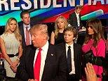 https://twitter.com/DanScavino/status/708144419032195077  Donald Trump, Wife Melania, Son Baron, Son Eric, and daughter Tiffany take stage post-debate