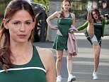 149290, EXCLUSIVE: Jennifer Garner sports a tennis outfit on the set of Tribes of PV as she heads to set with co-star Joely Fisher who has a bit of a wardrobe malfunction while high kicking in a tennis skirt. Los Angeles, California - Thursday, March 10, 2016. Photograph: © PacificCoastNews. Los Angeles Office: +1 310.822.0419 sales@pacificcoastnews.com FEE MUST BE AGREED PRIOR TO USAGE