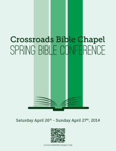 2014 Crossroads Bible Chapel Spring Conference Invitation