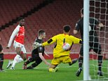 LONDON, ENGLAND - MARCH 04:  Stephy Mavididi scores a goal for Arsenal past George Shamal of Liverpool during the match between Arsenal U18 and Liverpool U18 in the FA Youth Cup 6th round at Emirates Stadium on March 4, 2016 in London, England.  (Photo by David Price/Arsenal FC via Getty Images)