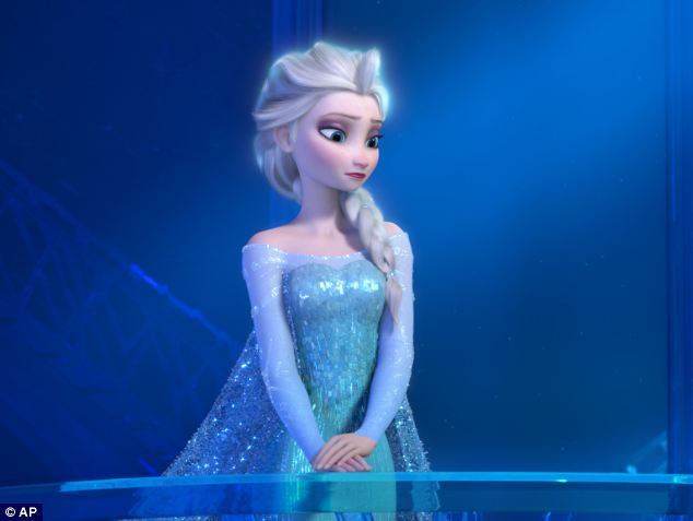 Out of stock: Clothing, dolls and soft toys based on the blockbuster animated musical Frozen have sold out. Pictured here is a teenage Elsa the Snow Queen, voiced by Maia Mitchell