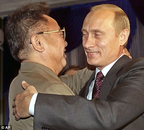 Leaders embrace: Amid rumours of his failing health, Kim Jong Il trekked to places like China and Russia, where he met Vladimir Putin in 2002