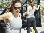 Beverly Hills, CA - Jennifer Garner spends her sunny Saturday at the Gym. The fit mom looks excellent in her sleeveless grey tank top, dark leggings, and bright shoes.\n  \nAKM-GSI       March 12, 2016\nTo License These Photos, Please Contact :\nSteve Ginsburg\n(310) 505-8447\n(323) 423-9397\nsteve@akmgsi.com\nsales@akmgsi.com\nor\nMaria Buda\n(917) 242-1505\nmbuda@akmgsi.com\nginsburgspalyinc@gmail.com