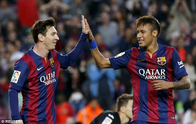 Messi and Neymar high-five during the six-goal demolition of Getafe