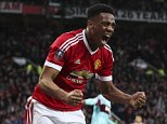 Mar 13th 2016 - Manchester, UK - MAN UTD V WEST HAM FA CUP - Anthony Martial scores and celebrates scoring for man utd 1-1 FA Cup PIcture by Ian Hodgson/Daily Mail