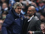 Manchester City manager Manuel Pellegrini with Bayern Munich manager Pep Guardiola. Champions League: Manchester City v Bayern Munich (3-2) November 25th, 2014. Picture by Ian Hodgson/Daily Mail . REXMAILPIX.