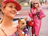 No Merchandising. Editorial Use Only. No Book Cover Usage\\nMandatory Credit: Photo by Everett/REX/Shutterstock (408869h)\\nLEGALLY BLONDE, Reese Witherspoon and Bruiser - 2001\\nSTARS WEARING PINK\\n\\n