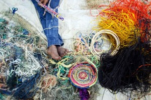 Ghost net, raffia and desert grass - weaving at Revealed