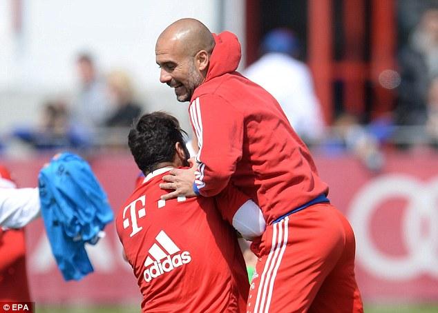 Bayern Munich coach Pep Guardiola was back at Bayern Munich training with a smile on his face