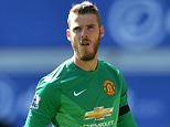 epa04721372 Manchester United's Spanish goalkeeper David de Gea reacts during the English Premier League soccer match between Everton FC and Manchester United at Goodison Park in Liverpool, Britain, 26 April 2015.  EPA/PETER POWELL DataCo terms and conditions apply  http://www.epa.eu/files/Terms%20and%20Conditions/DataCo_Terms_and_Conditions.pdf