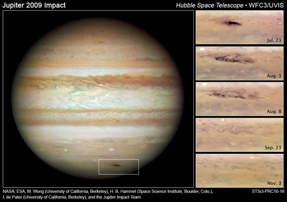 These NASA Hubble Space Telescope snapshots reveal an impact scar on Jupiter fading from view over several months between July 2009 and November 2009. Credit: NASA, ESA, M. H. Wong (University of California, Berkeley), H. B. Hammel (Space Science Institute, Boulder, Colo.), I. de Pater (University of California, Berkeley), and the Jupiter Impact Team