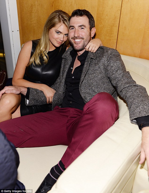 Game on: They dated in the past but Kate Upton and Justin Verlander couldn't keep their hands off each other at the GQ Super Bowl party in New York on Friday