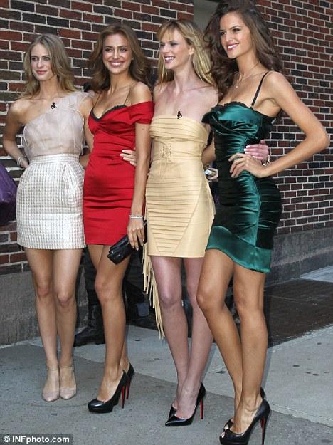 Fellow models: Irina posed with her fellow swimsuit models Kate Upton (left), Anne V and Izabel Goulart (right) outside the Letterman TV studios in New York City
