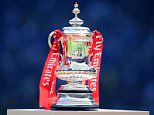 General view of the Fly Emirates FA Cup on display before kick off