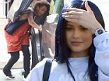 Kylie Jenner wears a fresh set of Pumas out, as her contract with the atheletic line has started, and her hair with a dark purple dye, to a lunch date with a mystery man. Jaden Smith, also at the restaurant Le Pain Quotidian, leaves shortly after them. Saturday, March 12, 2016  X17online.com