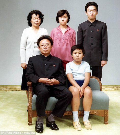Family values: This 1981 family portrait shows Kim Jong Il with son Kim Jong Nam, former wife's sister Sung Hye Rang and her children Lee Nam Ok and Lee Il Nam