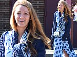 03/12/2016\nEXCLUSIVE: Blake Lively Spotted out shopping with friends in the New York suburbs. Blake was seen stepping out of a local supermarket wearing a blue and white floral sun dress teamed with a dark blue cardigan sweater. A large amount of fresh flowers and Duraflame fire logs looked to be on the shopping list. Blake was spotted smiling broadly and laughing on her way to her parked car to unload her purchases. \nPlease byline:TheImageDirect.com\n