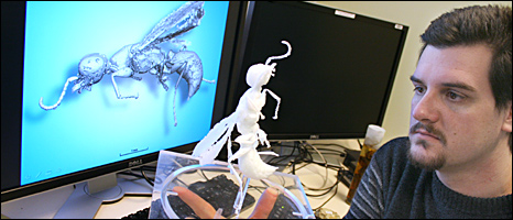 Paul Tafforeau with 3D print (BBC)