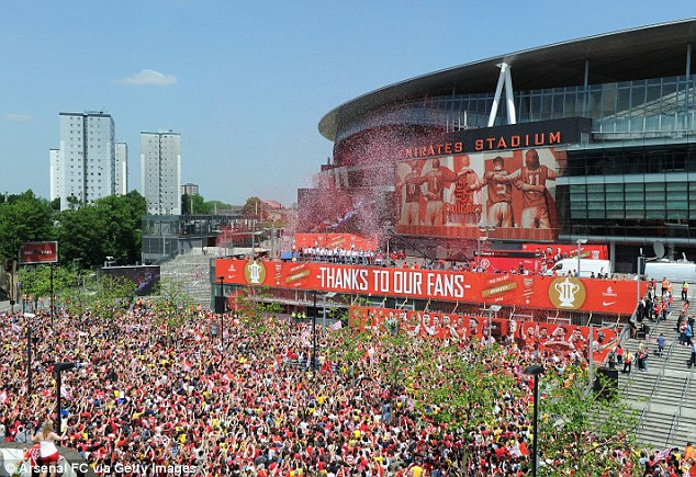 Good turn out! Thousands of fans flooded the streets to celebrate with their heroes