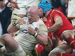 Dan Cole of England squints after getting a finger in the eye from Tomas Francis of Wales during the RBS 6 Nations match between England v Wales played at Twickenham Stadium, London, on March 12th 2016