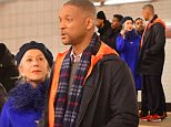 New York, NY - Helen Mirren and Will Smith are on set of 'Collateral Beauty' at a train station in New York. The film is about a tragic event sends a New York ad man on a downward spiral. Helen Mirren is seen with a Metro Card as she approaches Will Smith's character wearing a cobalt blue coat.    AKM-GSI        March 14, 2016 To License These Photos, Please Contact : Steve Ginsburg (310) 505-8447 (323) 423-9397 steve@akmgsi.com sales@akmgsi.com or Maria Buda (917) 242-1505 mbuda@akmgsi.com ginsburgspalyinc@gmail.com