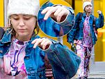 EXCLUSIVE: Miley Cyrus was seen leaving her New York apartment wearing a sweat suit with graphic manga characters on it, about which she proudly instargamed before. \n\nPictured: Miley Cyrus\nRef: SPL1243328  140316   EXCLUSIVE\nPicture by: Splash News\n\nSplash News and Pictures\nLos Angeles: 310-821-2666\nNew York: 212-619-2666\nLondon: 870-934-2666\nphotodesk@splashnews.com\n