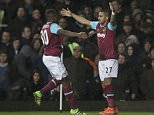 West Ham v Tottenham Hotspur -  Premier League Game at  Upton Park  West Ham's Michael Antonio and Dimitri Payet celebrates scoring the goal   West Ham won the game 1-0.