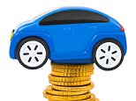 Toy car and stack of coins isolated on white background; Shutterstock ID 89694715