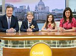 EDITORIAL USE ONLY. NO MERCHANDISING Mandatory Credit: Photo by Ken McKay/ITV/REX/Shutterstock (5614207ag) Tadgh Khight (Piers) and Laini Fixman (Susanna) with Piers Morgan and Susanna Reid 'Good Morning Britain' TV show, London, Britain - 16 Mar 2016 We meet our very own mini Piers and mini Susanna, as we embrace National Apprenticeship Week and take on two enthusisatic TV wannabes and set them a reporting challenge live on air.